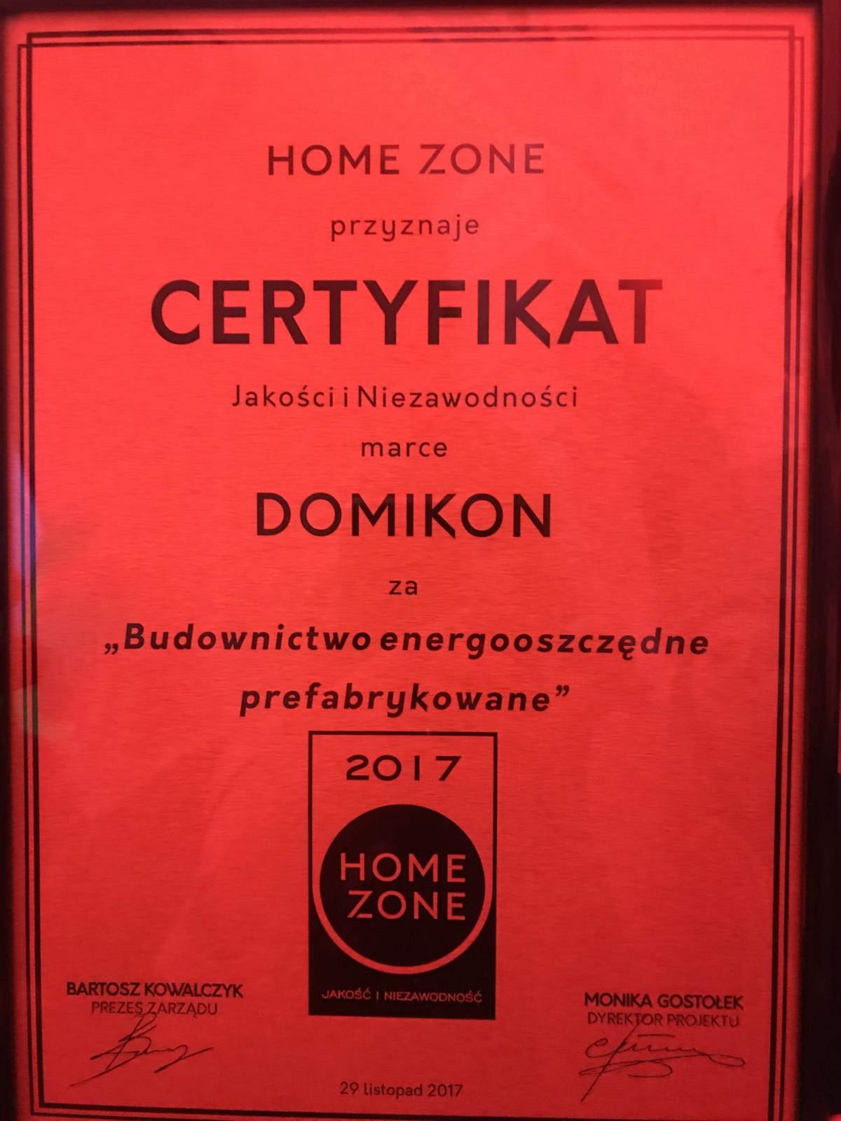 Domikon - Domikon Laureatem HomeZone Jakość i Niezawodność