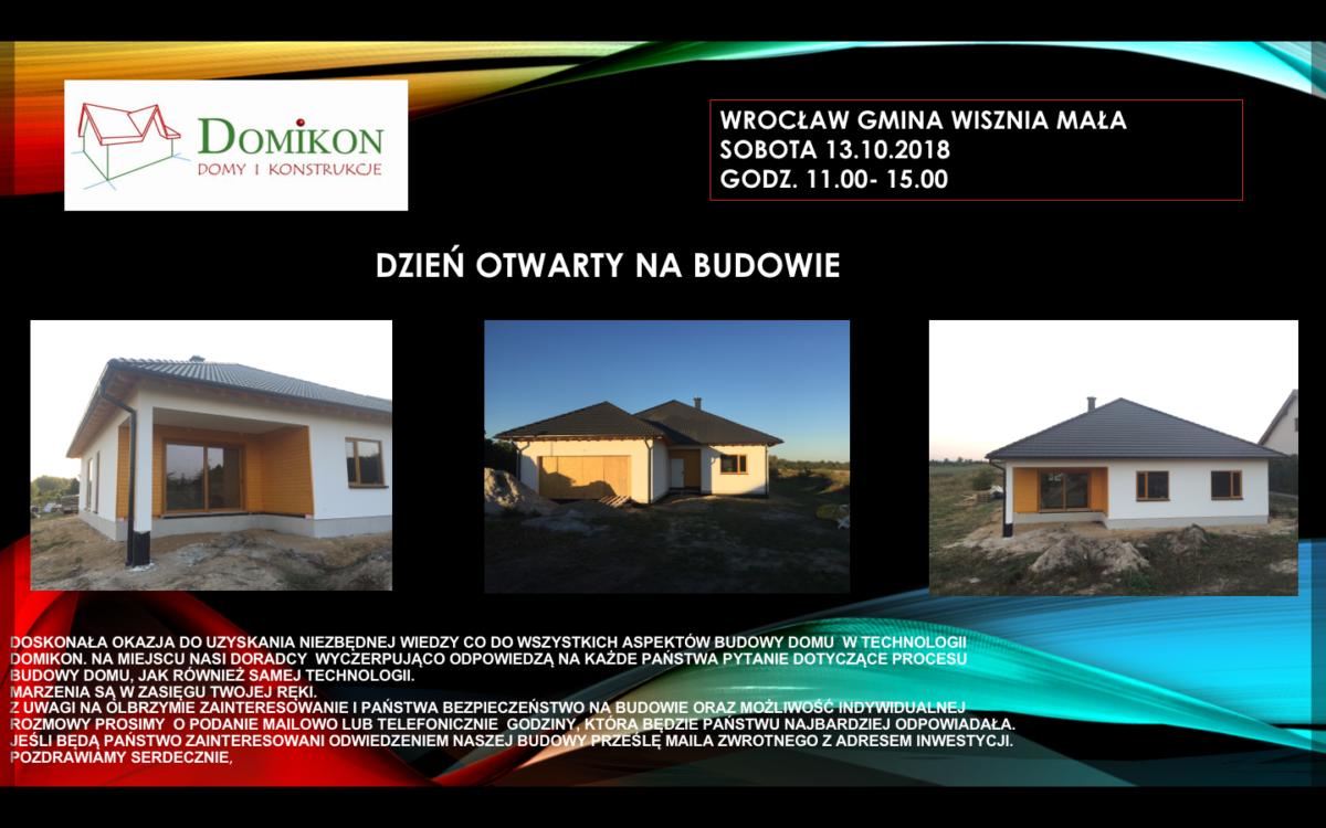 Domikon - Zapraszamy na Dzień Otwarty w okolicach Wrocławia- 13.10 sobota